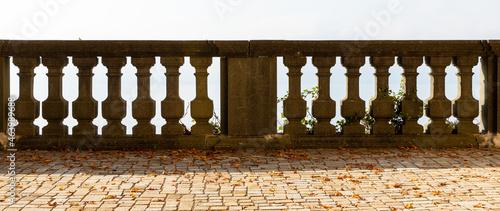 Fotografiet stone balustrade in autumn park