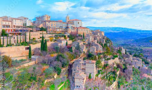 Fotografie, Obraz Beautiful medieval town Gordes - Provence, France