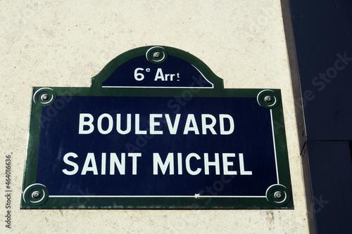 Canvas Boulevard Saint Michel. Plaque de nom de rue. Paris.