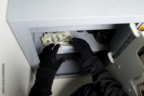 Wallpaper Mural Thief burglar stealing money during home safe codebreaking