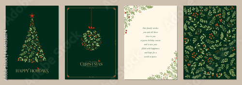 Photographie Holidays cards with Christmas Tree, birds, Christmas ornament, backgrounds, ornate floral frames and copy space