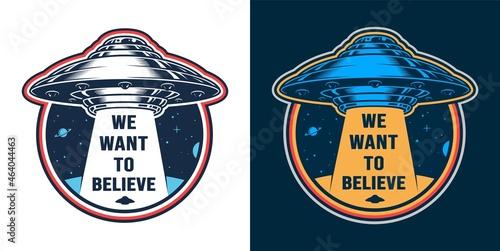 Vintage alien invasion colorful emblem Fotobehang