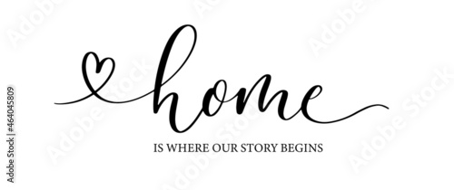 Fotografia, Obraz Home is where our story begins. Lettering poster