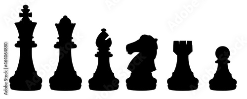 Fotografiet isolated silhouette chess set chess piece king, queen, bishop, knight horse, rook, pawn on white background