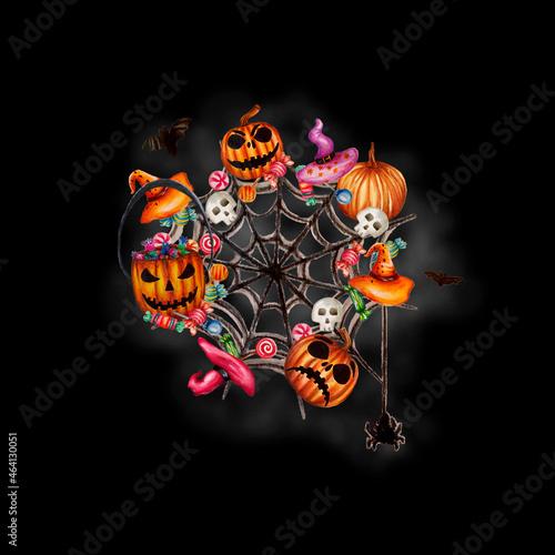 Obraz na plátne Sfondo nero di Halloween con deliziose zucche spaventose disegnate a mano, lecca