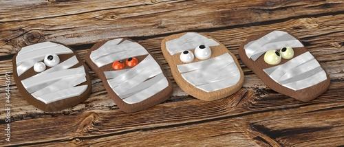 Fotografiet Halloween mummy cookies - 3D illustration