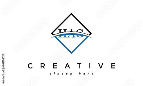 Fotografia, Obraz HAG three Letters Logo Design with Swoosh and Rectangle Square Box Vector Design