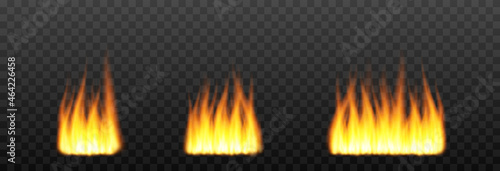 Fotografie, Obraz Set of vector fire, flames on an isolated transparent background