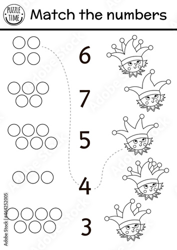 Obraz na plátně Match the numbers game with buffoon and bells on hat