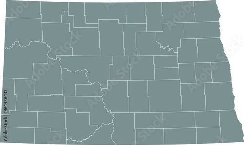 Canvas Gray vector administrative map of the Federal State of North Dakota, USA with wh