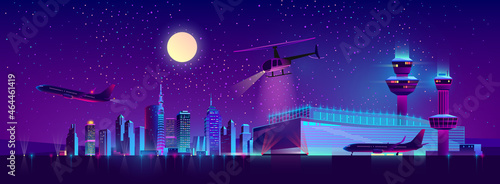 Photo Vector night airport with plane and helicopter