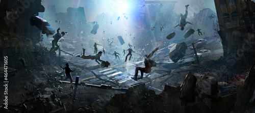 Photo The doomsday scene of a catastrophe, digital illustration.