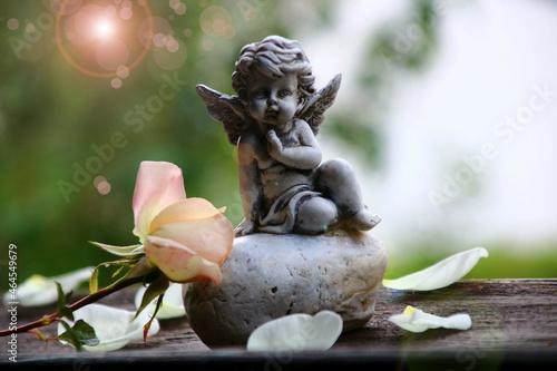 Obraz na plátně engel mit rose trauerkarte