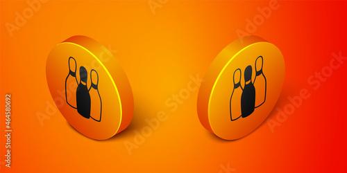 Slika na platnu Isometric Bowling pin icon isolated on orange background
