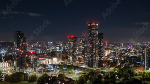 Tela Deansgate Square and Manchester England, modern tower block skyscrapers dominating the Manchester city centre landscape taken at night,