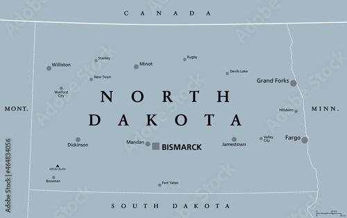Canvas North Dakota, ND, gray political map, with capital Bismarck