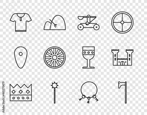 Fotografia Set line King crown, Medieval axe, Catapult shooting stones, chained mace ball, Body armor, Old wooden wheel, keys and Castle icon
