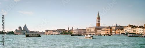 Murais de parede Italy, Venice, panoramic image of Riva degli Schiavoni, the Venice Promenade, with passenger boats